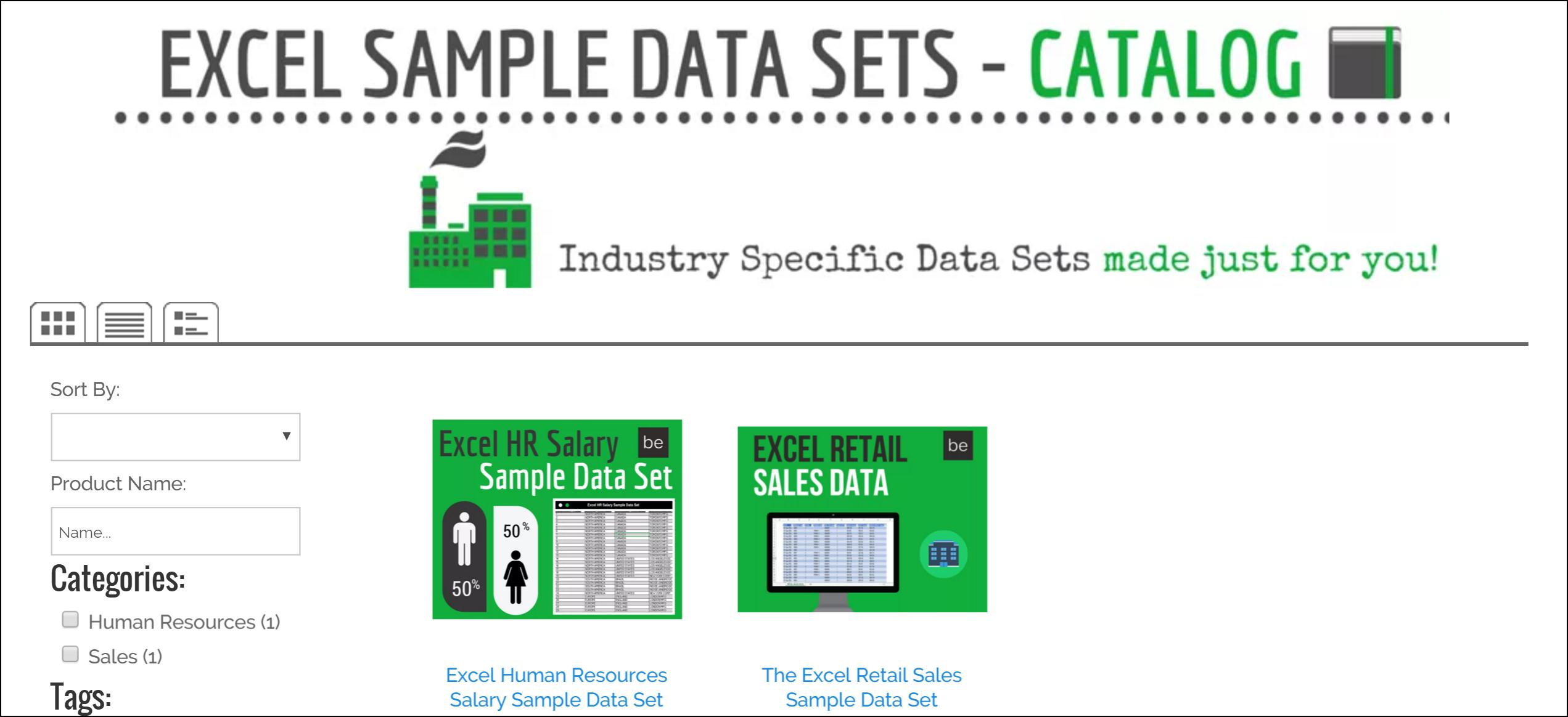 Excel Sample Data Sets - BRAD EDGAR